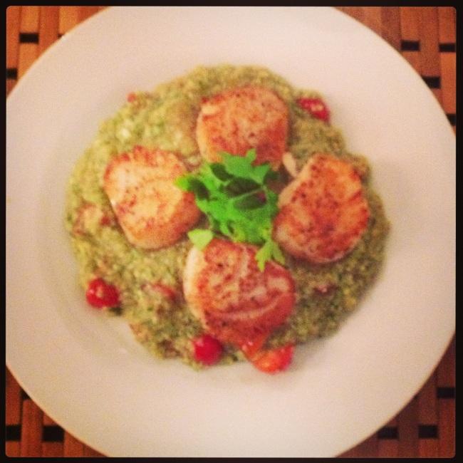 Scallops with Four Herb Pesto Quinoa