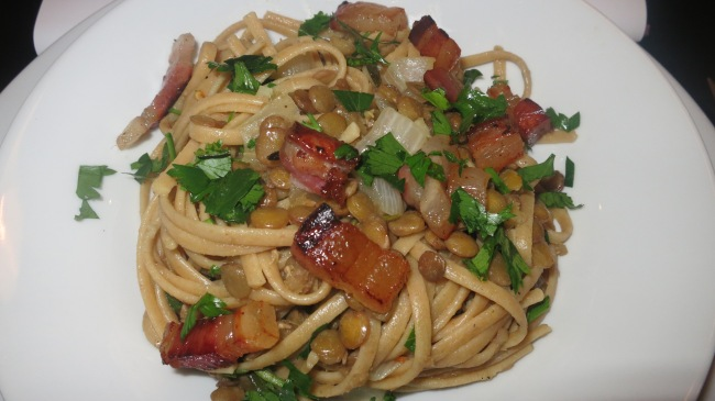 Linguine with Lentils and Pancetta   NYC Fit Food Fashion!