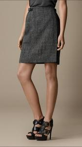 Leather Detail Wrap Skirt - Burberry