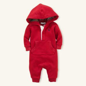 Red Hooded Fleece Coverall - Ralph Lauren
