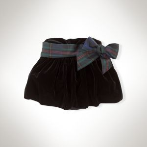 Ruched Velvet Bubble Skirt in Black - Ralph Lauren