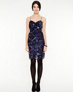 Le Chateau Sequin V-Neck Dress
